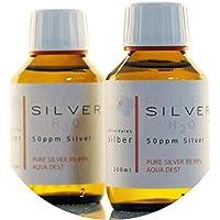 Preisvergleich für PureSilverH2O 200ml Kolloidales Silber - 2X Flaschen (je 100ml / 50ppm) - Reinheit & Qualität seit 2012
