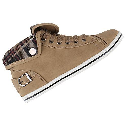 Damen Sneakers High Karo Muster Bequeme Schuhe Schnürer Khaki Karo