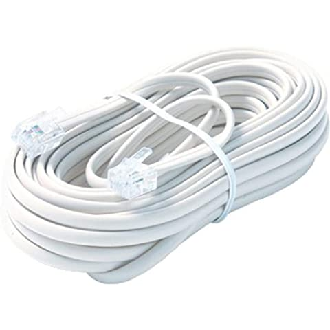 Steren 25' White 6-Conductor Telephone Line