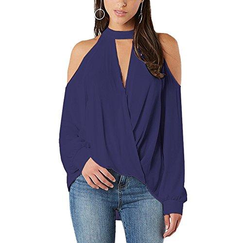 YOINS Women's Cold Shoulder Top Crossed Front Design V-Neck Lantern Sleeves Shirt Blouse