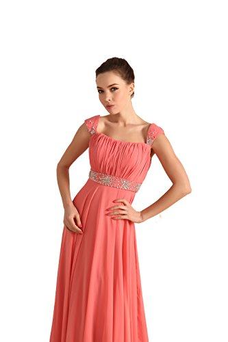 Bridal_Mall Damen Einfach Abendkleid Lang mit Traeger Strasssteinen Prom Partykleid Violett