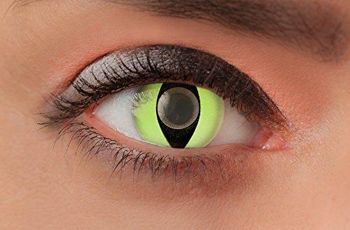 Weiche farbige Kontaktlinsen Funlinsen mit Motiv ohne Stärke für Halloween Fasching Party Kostüm und den Alltag (1 Paar (2Linsen), 18 - Green Cat) (18 Und Bis Halloween-partys La)