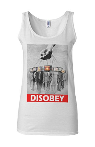 Disobey TV Heads Slavery Novelty White Femme Women Tricot de Corps Tank Top Vest **Blanc
