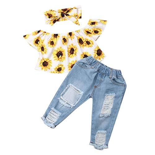 Julhold Kleinkind Baby Mädchen Kind Niedlich Mode Schulterfrei Sonnenblumen Oberteile + Jeans Slim Hosen Outfits Set 0-4 Jahre