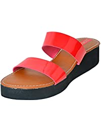 Footrendz Women's Metalic Red Faux Leather Wedges