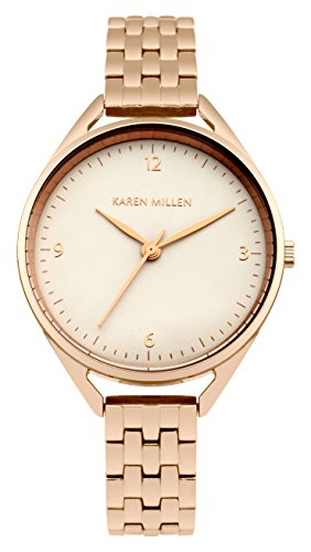 Karen Millen Women's Quartz Watch with Grey Dial Analogue Display and Rose Gold Stainless Steel Bracelet KM130ERGM