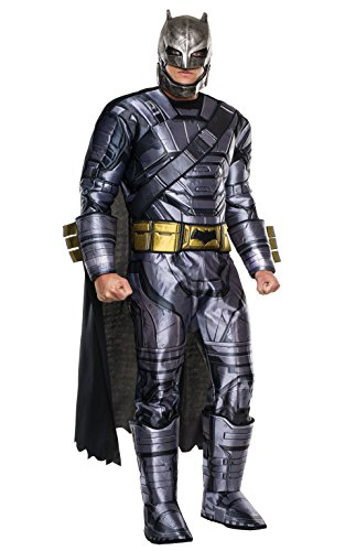 Superman Kostüm Gürtel - Rubie's Batman-Kostüm aus Batman vs. Superman, Deluxe-Outfit mit Batman-Panzerung, für Herren, Standard, Brustumfang: 111,8 cm, Taille: 76,2-86,4 cm, Beininnenlänge: 83,8 cm