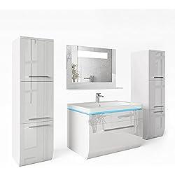 Badmöbel Set Weiss Hochglanz Badezimmer Waschbecken Spiegel LED Waschtisch