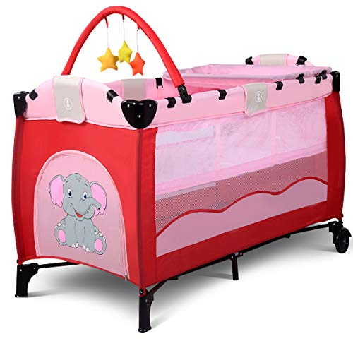 COSTWAY Portable Baby Travel Cot, Infant Bed, Play Pen Child Bassinet Playpen Entryway with Mat 2 in 1 (Pink)  COSTWAY
