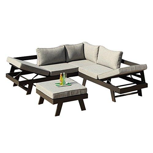 Ribelli Lounge Set Aluminium \'Manrali\' - Alu Loungeset 3 teilig für Garten & Terrasse - Outdoor Garnitur in Anthrazit & Grau mit 2 Liegen als Eckbank & Hocker