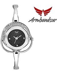 Armbandsur silver case black dial watch-ABS0058GSB