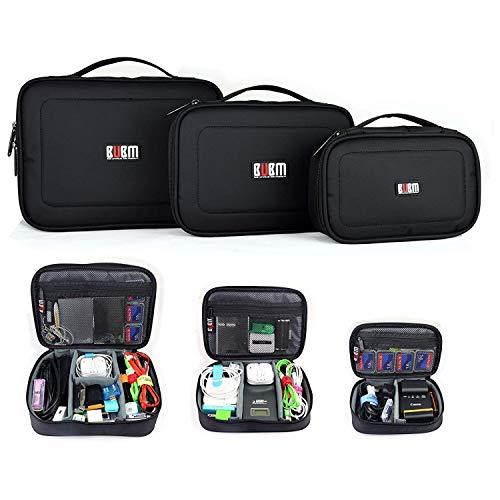 Bolsa para Accesorios Electrónicos Universal, 3 Piezas Universal Organizador Portable Bolsa Impermeabile para Disco Duro Cables Cargador,Gadget de Memoria USB Bolsillo y iPad, negro