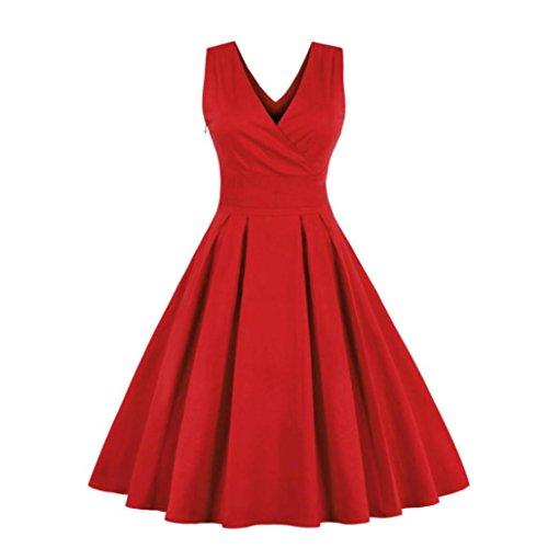 Vestiti donna eleganti ragazza invernali di moda in pizzo giuntura chiffon delle abiti cerimonia rotondo collo corti manica lunga linea ad a estivi ragazza vestitini tulle (xxxl,rosso)