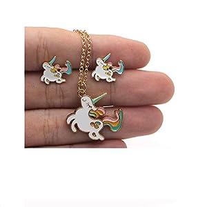Lalia Einhorn Schmuckset, Halskette und Ohrringe, gold, pink, weiß, super süß. Tolles Geschenk Set, 3 -teilig, Kinder, Geburtstag