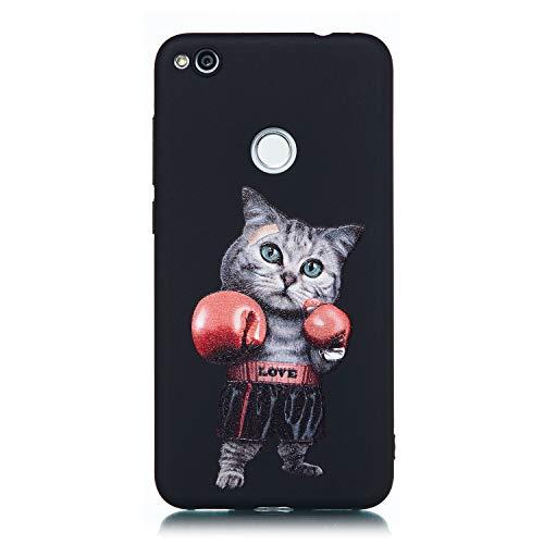 Lite Schale (Cozy Hut Huawei P8 Lite 2017 Hülle, [Schwarz Matt Serie] Soft Flex TPU Case Ultradünn Handyhülle Silikon Bumper Cover Schutz Tasche Schale Schutzhülle für Huawei P8 Lite 2017 - Boxen Katze)