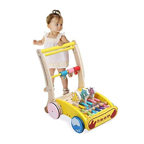 LTSWEET Baby Lauflernhilfen Hölzern Gehfrei Lauflernwagen Anti Rutsch Räder Kinderspielzeug Geschenk Baby Walker Förderung Motorischer Fähigkeiten Safety