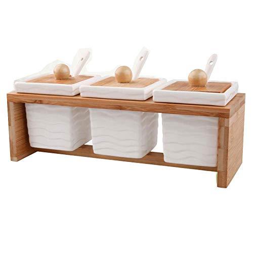 Cwllwc barattoli portaspezie, contenitore di ceramica condimento cucina con struttura in legno con cucchiaio tre pezzi set
