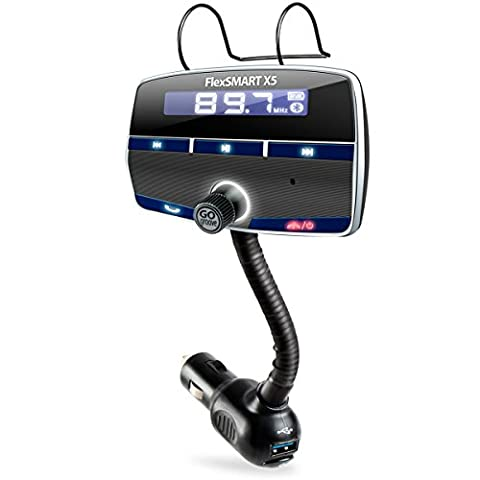 In-Car Bluetooth FM Transmitter Kit with Hands-Free Calling , Music Playback , USB Charging - Works with Apple iPhone 7, Samsung Galaxy S7 Edge , Motorola Moto G4 , Wileyfox Swift 2 and More!