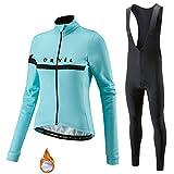 Winterfietsshirt met Lange Mouwen, Thermisch Fleece Dames MTB-kleding met 9D Gel-gewatteerde Broek (Kleur : A, Grootte : L)
