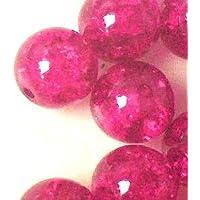 200pièces 4mm Perles de verre craquelé–Rose vif–A1411