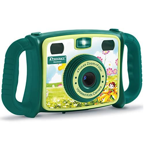 DROGRACE Kids Kamera 1080P HD Digital Video Kamera mit 4x Zoom, Flash Lichter, 5,1cm LCD und Griffe für Jungen Mädchen Geburtstag Urlaub Geschenk–Grün
