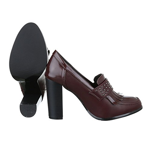High Heel Damen Schuhe Plateau Pump Nieten Besetzte Ital-Design Pumps Weinrot