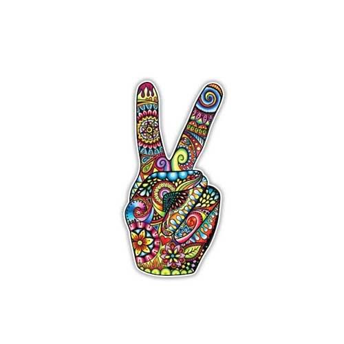 Peace Sign Aufkleber Hand Deuces Aufkleber von Megan J Designs-Laptop Fenster Auto Vinyl Aufkleber (Aufkleber Sign)