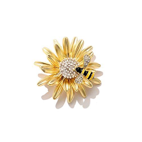 DaoRier Gänseblümchen-Biene Broschen Kleidung Dekoration Brosche Schmuck Zubehör Wildes Broschen Anhänger Dekoration -