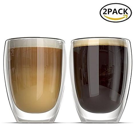Verres à Double Paroi 350ml PLUIESOLEIL en verre borosilicate – pour le Thé, Café, Latte, Cappuccino, Bière (2 PCS)