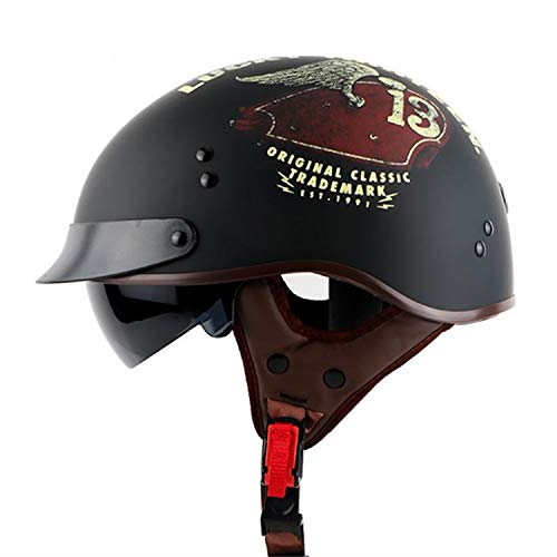 Casco Moto Aperto - Lente incorporata Casco Vintage Harley - Caschi Uomo e Donna DOT Approvati per caschi Estivi (M, L, XL, XXL),M
