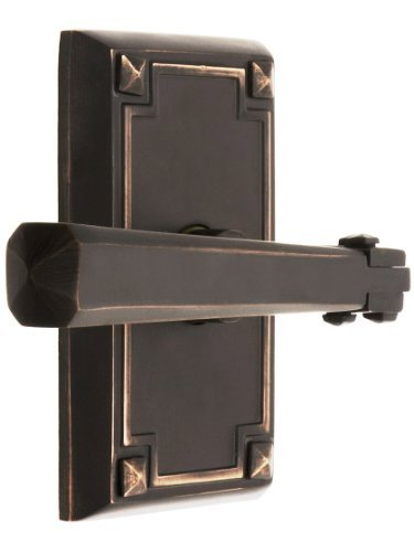 Craftsman Style Lever Door Set With Rectangular Rosettes Right Hand Privacy In Oil Rubbed Bronze. Door Hardware. by Emtek -