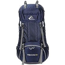 airelibre libre Caballero 60L senderismo Daypacks Senderismo Viaje Mochila Camping mochila 60L Extra grande, azul marino