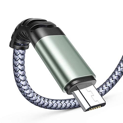 AINOPE Micro USB Handy Ladekabel 【2 Stück 2M】 Nylon Android Micro USB Kabel Metallstecker Samsung Galaxy s7 ladekabel für Samsung S7/ S6/ J7/ Note 5,Huawei,Wiko,Nexus,Motorola,Nokia,Echo Dot-Grau