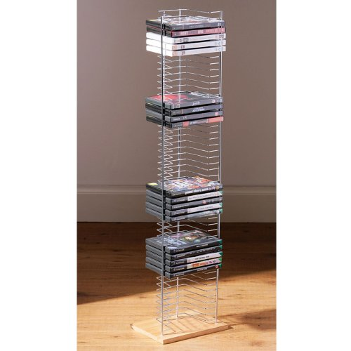 TOWER - Free Standing DVD Storage Rack - Silver by