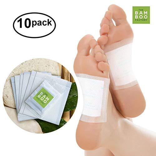 10x Detox Fußpflaster, Abnehmpflaster und Entgiftungspflaster für Füße – Wellness Bambus Vital Pads als Entgiftungskur, Entschlackungskur, zum Abnehmen und zur Entspannung