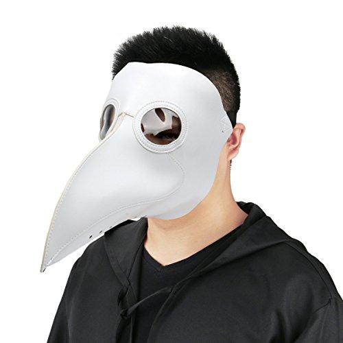 Cusfull Schnabelmaske Mittelalter Pest-Maske Doktor Arzt Kopfmaske Steampunk Kostüm Zubehör für Erwachsene Halloween Party Fasching Karneval PU Leder Weiß