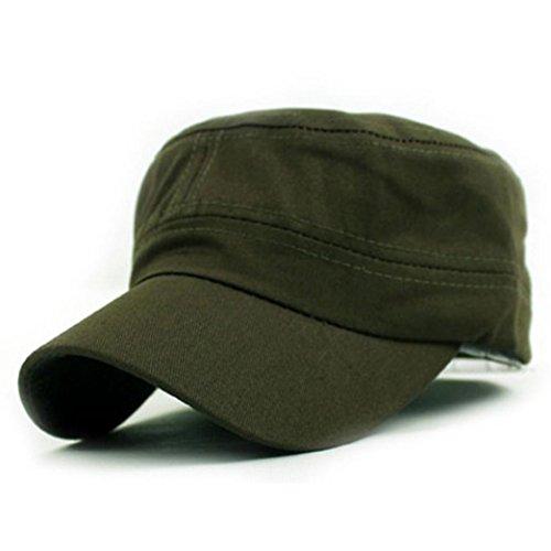 URSING Klassische Ebene Vintage Army Military Cadet Stil Mütze aus Baumwolle Basecap Baseball Mütze Cap Caps Fashion Freizeit Kappe Lässig Mütze für Draussen Sport und Reisen (Army Green)
