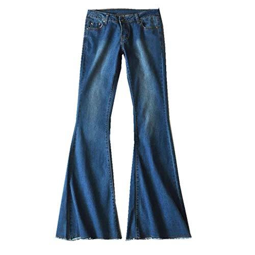 OYSOHE Damen Jeans Mid Waist Slim Fit Denim-Hose Baggy Pants Flare-Hose(Blau,XXX-Large) Damen Stretch Flare Jeans