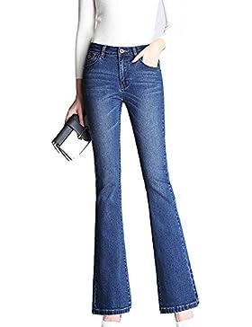 ZXQZ Jeans Pantalones elásticos de las mujeres Pantalones vaqueros de cintura alta Pantalones rectos de pierna...
