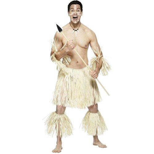 Zulu Krieger Kostüm Set Afrikaner Karibik Südsee Kannibale Herrenkostüm Outfit Rock Faschingskostüme Karnevalskostüme Männer Herren (Zulu Krieger Kostüm)
