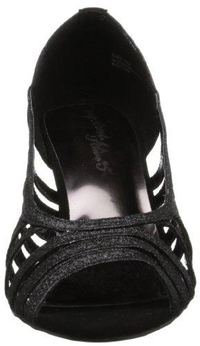 Easy Street Sparkle Breit Peep Zehe Textile Stöckelschuhe Black Glitter