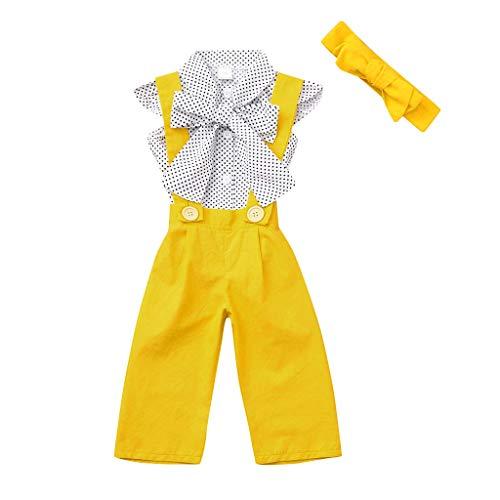 Mitlfuny Kleidung Set Kleid Damen Sommer Elegant Baby Mädchen Outfits & Set,Kleinkind-Baby-ärmelloses Punkt-Oberseiten-Bogen-T-Shirt + Feste Overall-Hosen-Ausstattungen (Für Kleinkinder Valentine-t-shirts)