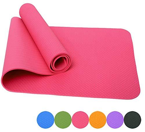 Good Times Yogamatte, Rutschfest, TPE, umweltfreundlich, hypoallergen, hautfreundlich, Gymnastikmatte, Fitnessmatte, Sportmatte, Bodenmatte mit Tasche & Trageband, 183x61x0,8cm (Pink)
