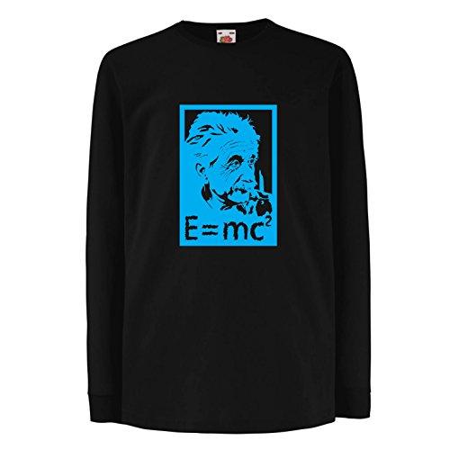 lepni.me Kinder-T-Shirt mit Langen Ärmeln Physikwissenschaftler Albert Einstein, Geschenk für Wissenschaftsliebhaber (14-15 Years Schwarz Blau)