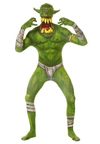 Grüner Ork Klapp-Kiefer Kinder Monster Morphsuit Faschingskostüm - size Large 4'1-4'6 ()