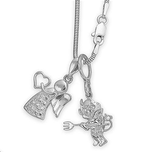 Silber Kette mit zwei Sterlingsilber Kettenanhänger Teufelchen & Schutzengel Engel Flügel Schmuckanhänger + Schmucketui #1380