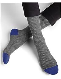 BLEUFORÊT - Chaussettes coton bicolores à côtes - Bleu lapis, 39/42