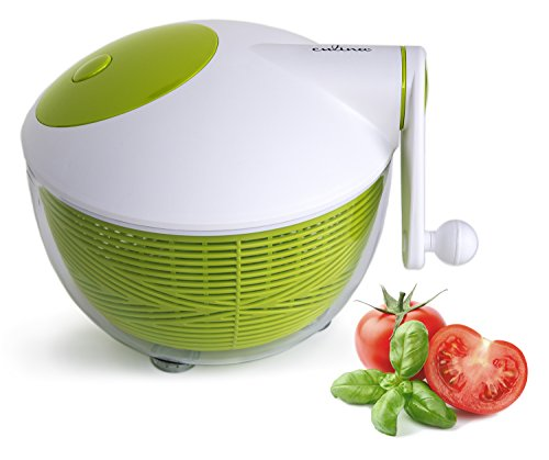 Culina, Robust Salad Spinner, 5Qt. BPA-Free, Space Saving, Durable Construction, Ergonomic Features, Food Safe, Fast, Easy, Effortless, High Performance Spin for Healthy Benefits, Suited to Vegan, Vegetarian, Paleo Diet, Juicing Preparation, Multi Use