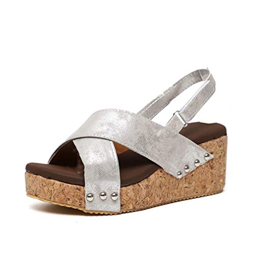 Keilsandalen Casual Sandalen Damen Peep Toe Strandschuhe Sandaletten mit Knöchel Schnalle Sommer Pantoletten Schwarz Grau Beige 35-43 Grau 42