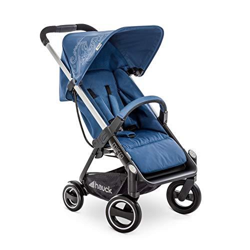 Hauck Micro - silla de paseo moderno y compacta, respaldo reclinable, plegable con una sola mano, ligera, chasis de aluminio, manillar regulable, luces reflectantes, 0 meses a 25kg, star denim (azul)